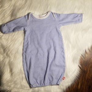 Zutano itzy bitzy newborn boy blue striped gown